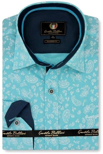 Heren Overhemd - Paisley Ornament - Turquoise