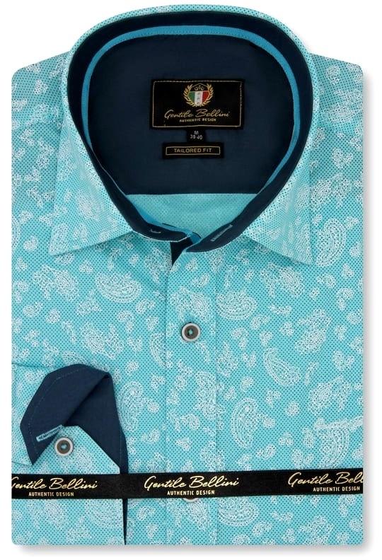 Heren Overhemd - Paisley Ornament - Turquoise-1