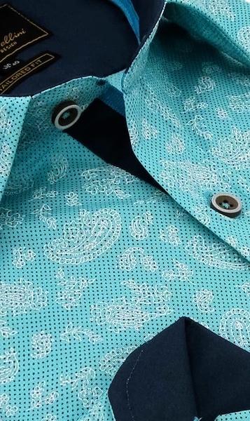 Heren Overhemd - Paisley Ornament - Turquoise-2