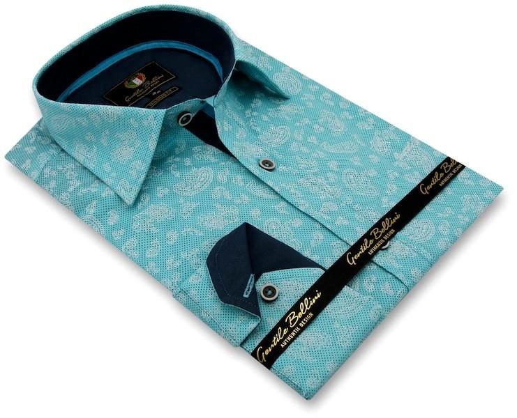 Heren Overhemd - Paisley Ornament - Turquoise-3