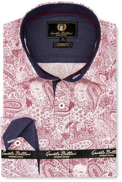 Heren Overhemd - Paisley Kashmir - Rood