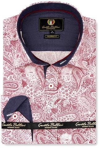 Heren Overhemd - Paisley Kashmir - Rood-1