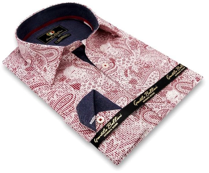 Heren Overhemd - Paisley Kashmir - Rood-3