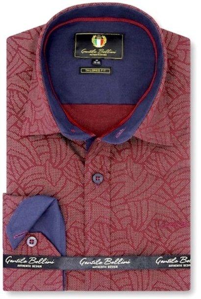 Heren Overhemd - Dotted Shape - Bordeaux