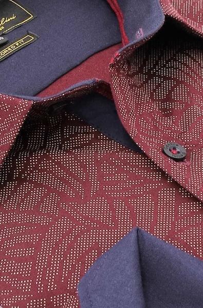 Heren Overhemd - Dotted Shape - Bordeaux-2