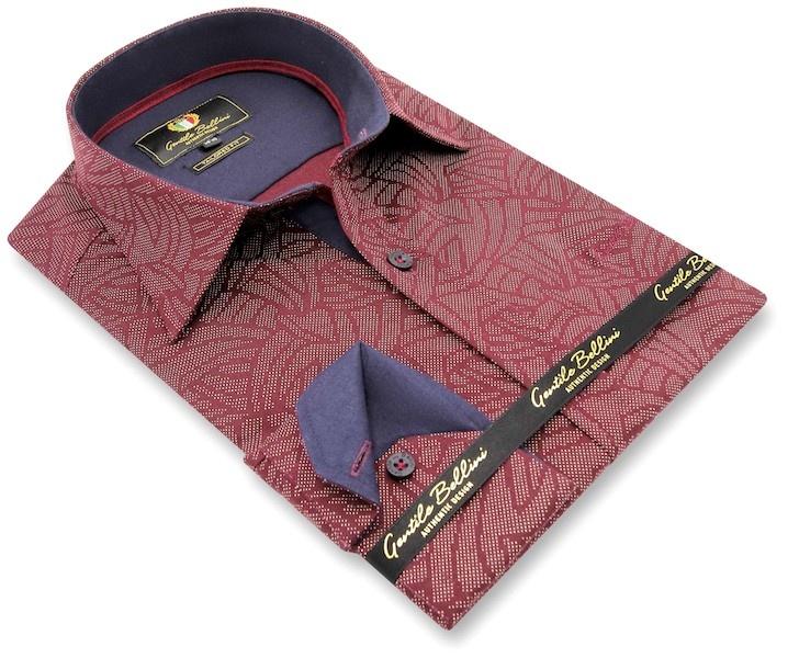 Heren Overhemd - Dotted Shape - Bordeaux-3