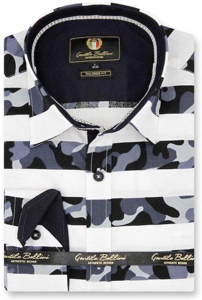 Heren Overhemd - Stripe Camo - Wit