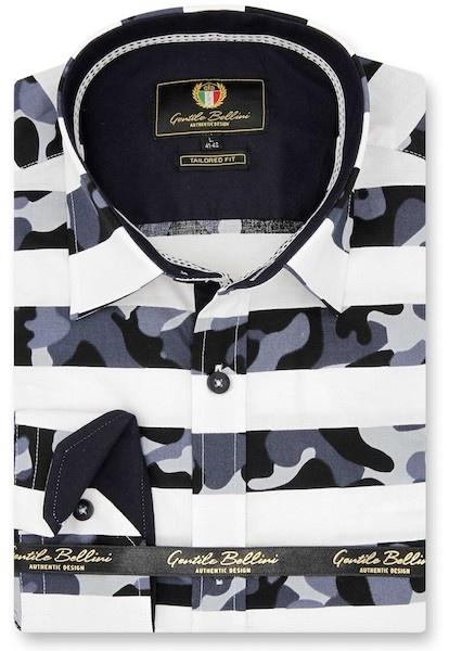 Heren Overhemd - Stripe Camo - Wit-1