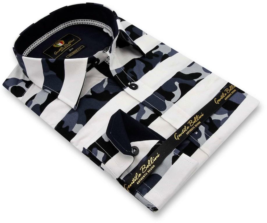 Heren Overhemd - Stripe Camo - Wit-3