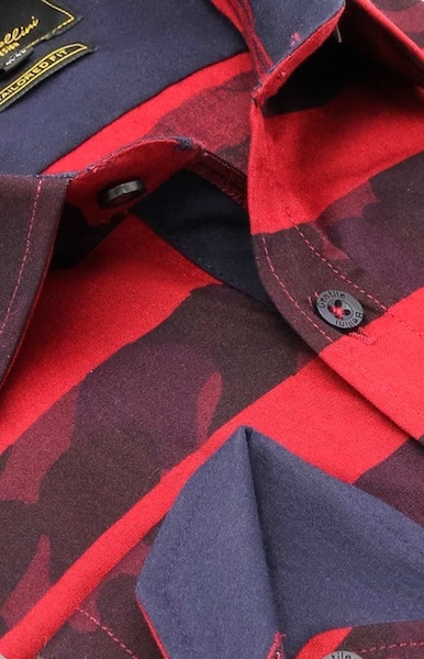 Heren Overhemd - Stripe Camo - Rood-2