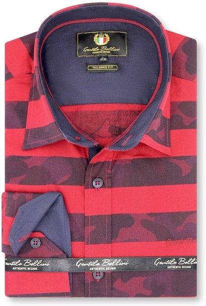 Heren Overhemd - Stripe Camo - Rood
