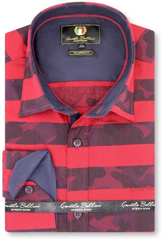Heren Overhemd - Stripe Camo - Rood-1