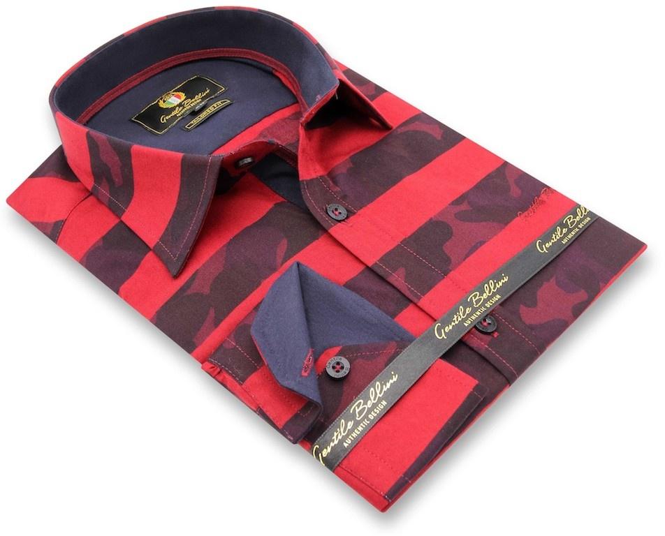 Heren Overhemd - Stripe Camo - Rood-3
