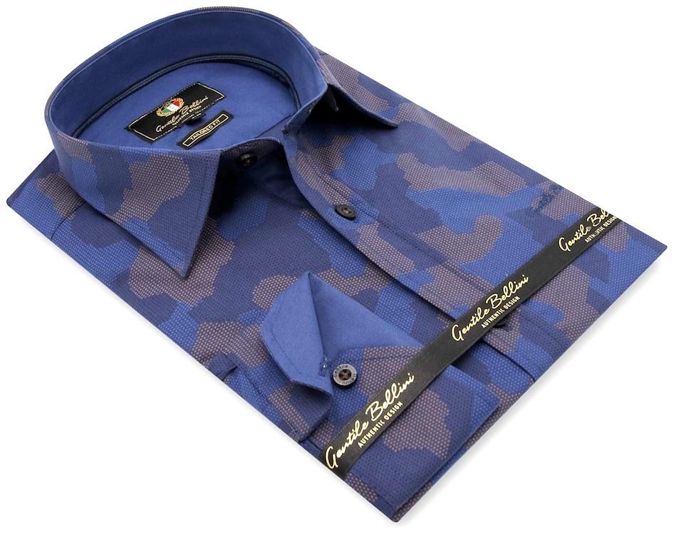 Heren Overhemd - Art Of Camouflage - Blauw-3