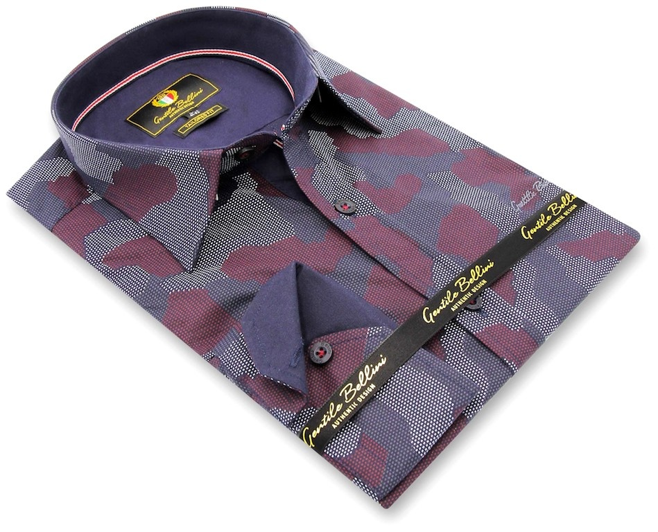 Heren Overhemd - Art Of Camouflage - Paars-3
