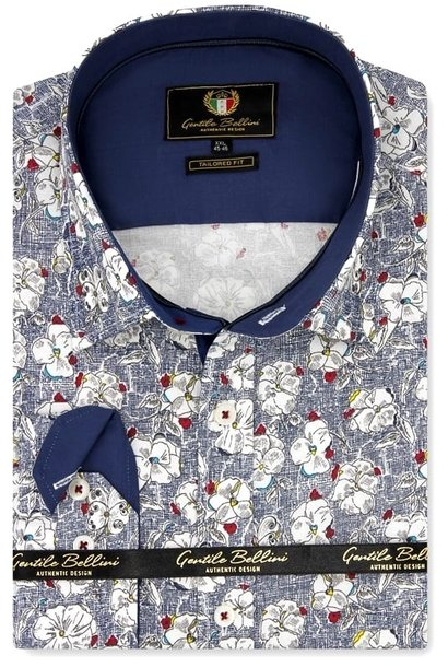 Heren Overhemd - Flower Paradise - Blauw