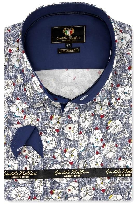 Heren Overhemd - Flower Paradise - Blauw-1
