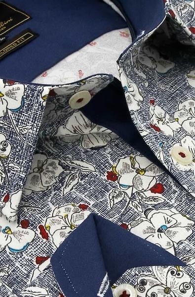 Heren Overhemd - Flower Paradise - Blauw-2