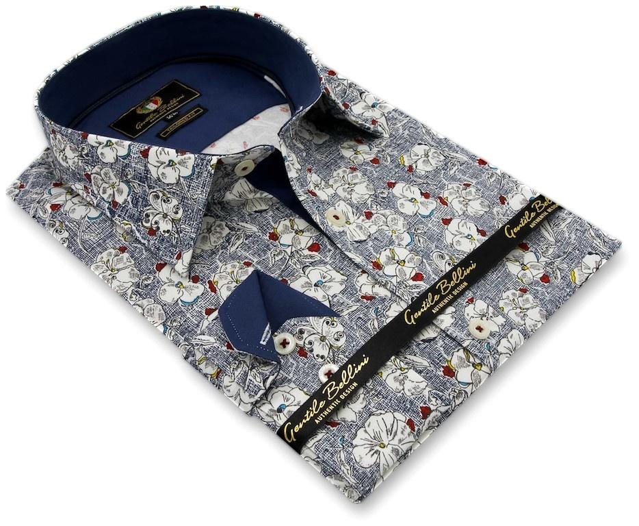 Heren Overhemd - Flower Paradise - Blauw-3