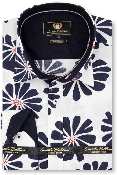 Heren Overhemd - Daisy Flower - Wit