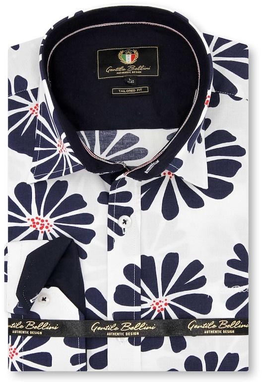 Heren Overhemd - Daisy Flower - Wit-1