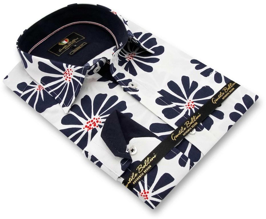 Heren Overhemd - Daisy Flower - Wit-3