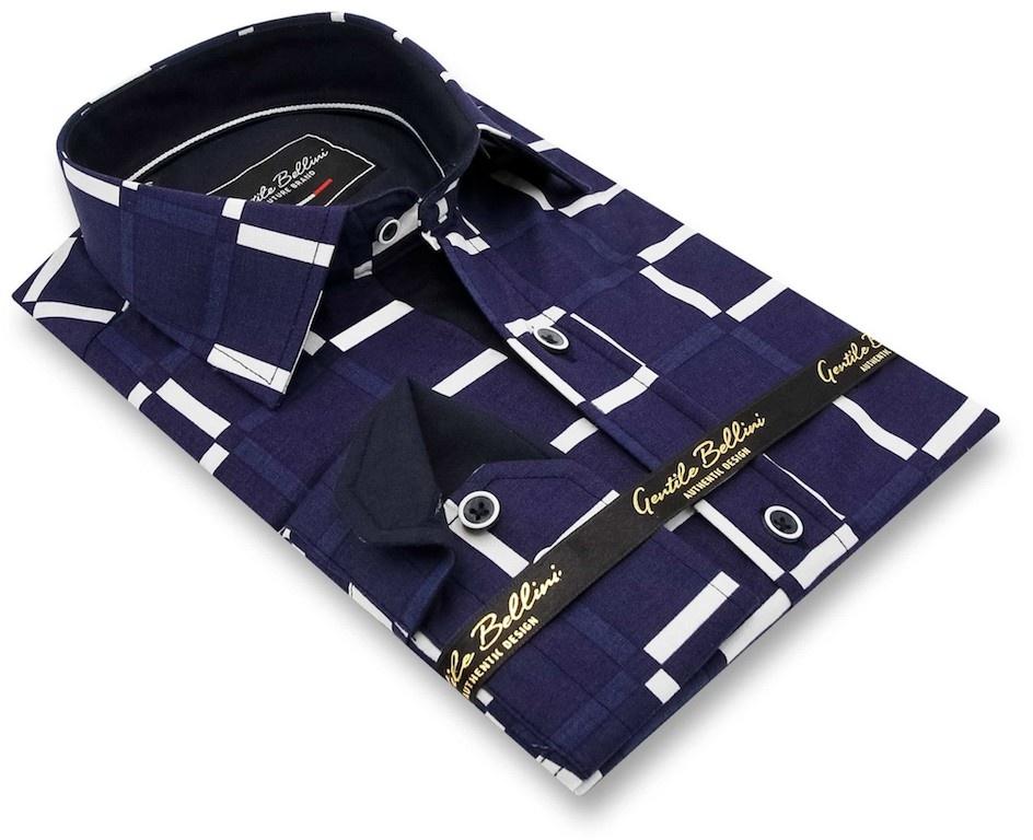 Heren Overhemd - Grid Mesh - Blauw-3