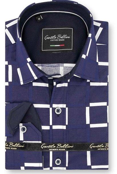Heren Overhemd - Grid Mesh - Blauw