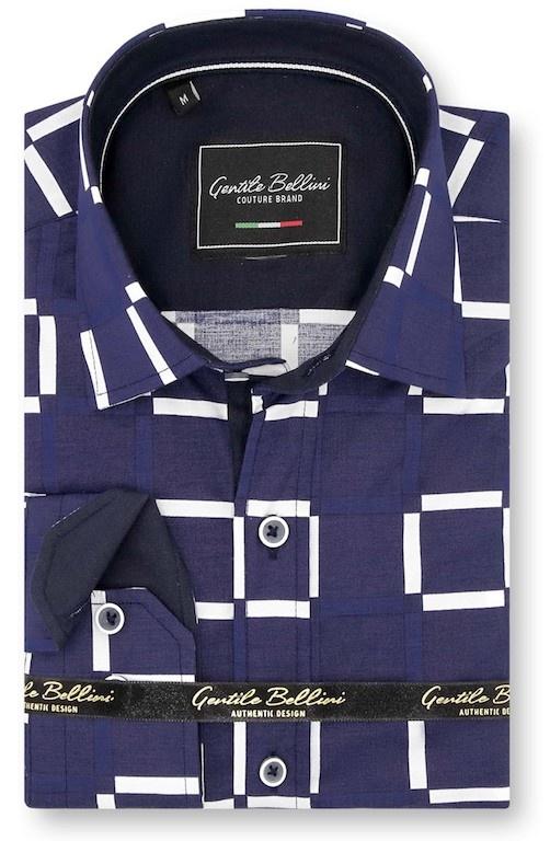 Heren Overhemd - Grid Mesh - Blauw-1