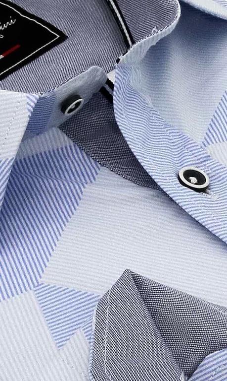 Heren Overhemd - Diamond Checker Pattern - Blauw-2