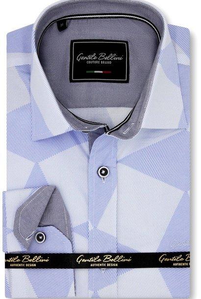 Heren Overhemd - Diamond Checker Pattern - Blauw