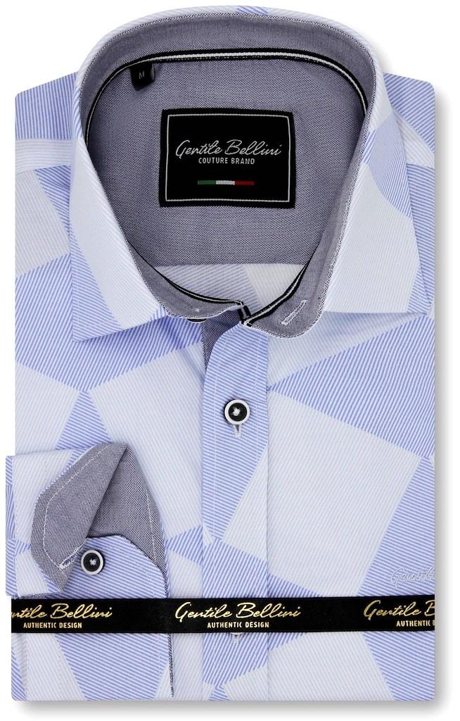 Heren Overhemd - Diamond Checker Pattern - Blauw-1
