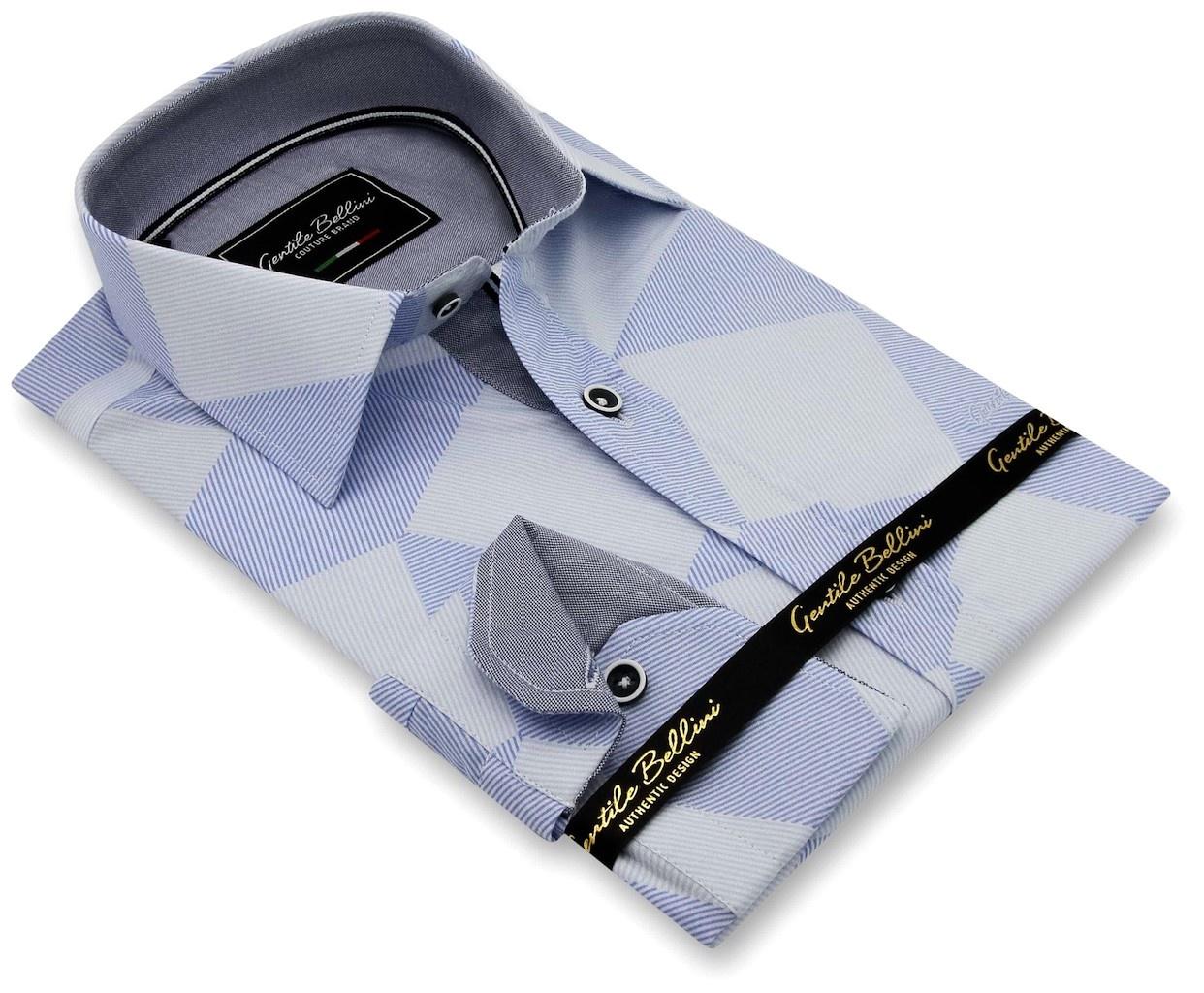 Heren Overhemd - Diamond Checker Pattern - Blauw-3
