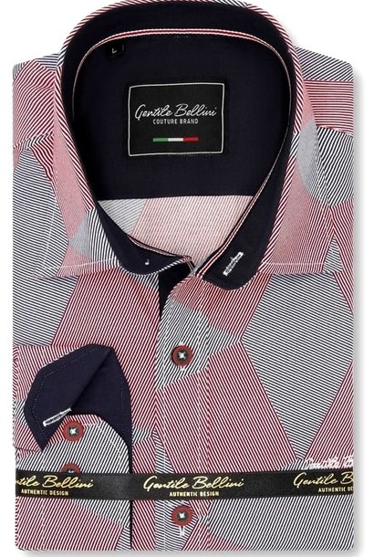 Heren Overhemd - Diamond Checker Pattern - Rood