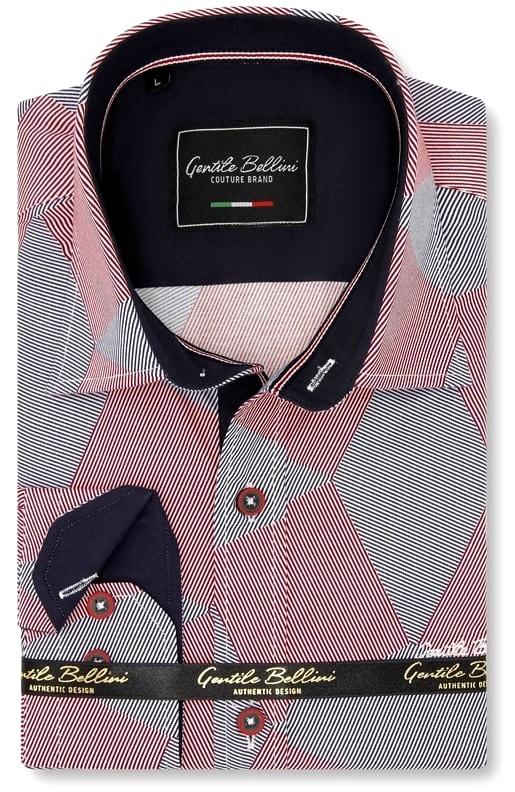 Heren Overhemd - Diamond Checker Pattern - Rood-1