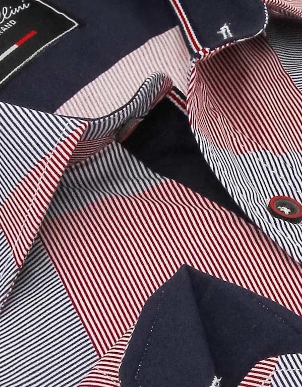 Heren Overhemd - Diamond Checker Pattern - Rood-2