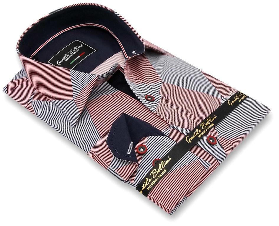 Heren Overhemd - Diamond Checker Pattern - Rood-3
