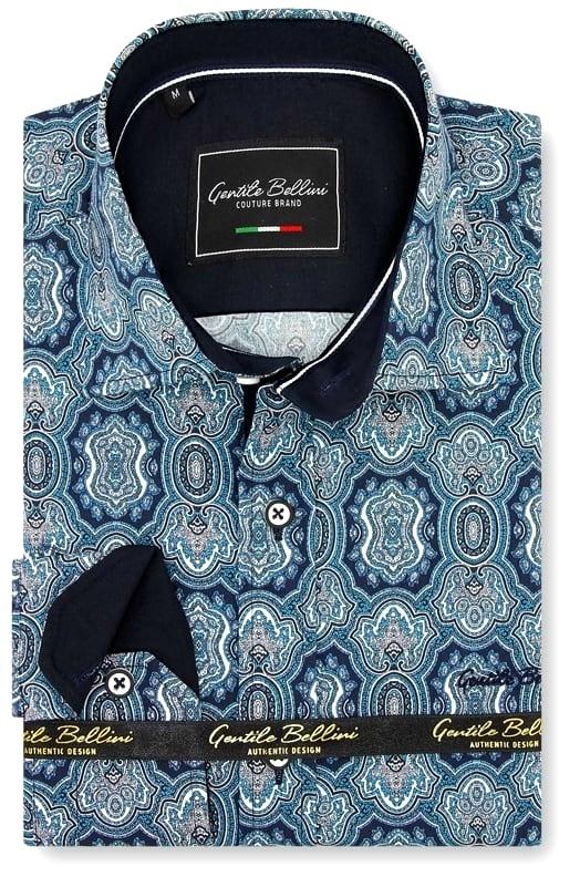 Heren Overhemd - Ottoman Mosaic - Blauw-1
