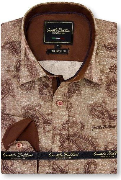 Heren Overhemd - Jacquard Paisley - Bruin
