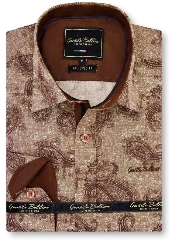 Heren Overhemd - Jacquard Paisley - Bruin-1