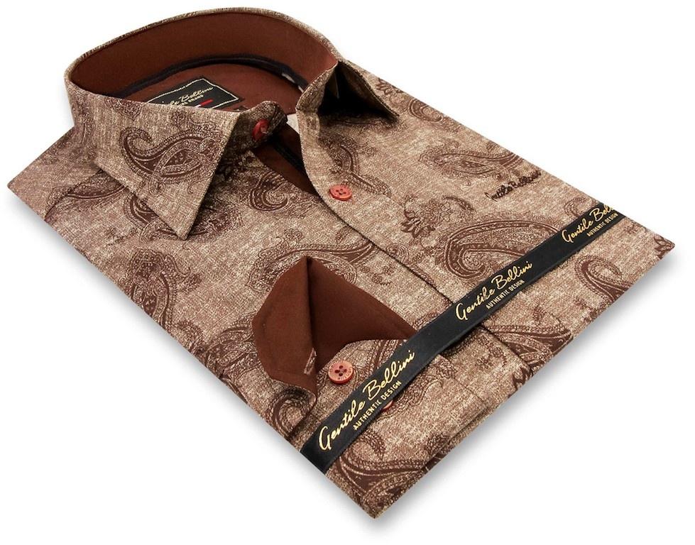 Heren Overhemd - Jacquard Paisley - Bruin-3