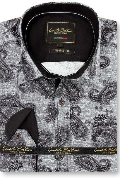 Heren Overhemd - Jacquard Paisley - Zwart