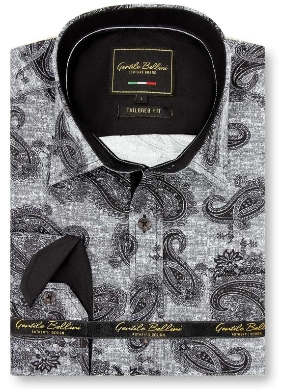 Heren Overhemd - Jacquard Paisley - Zwart-1