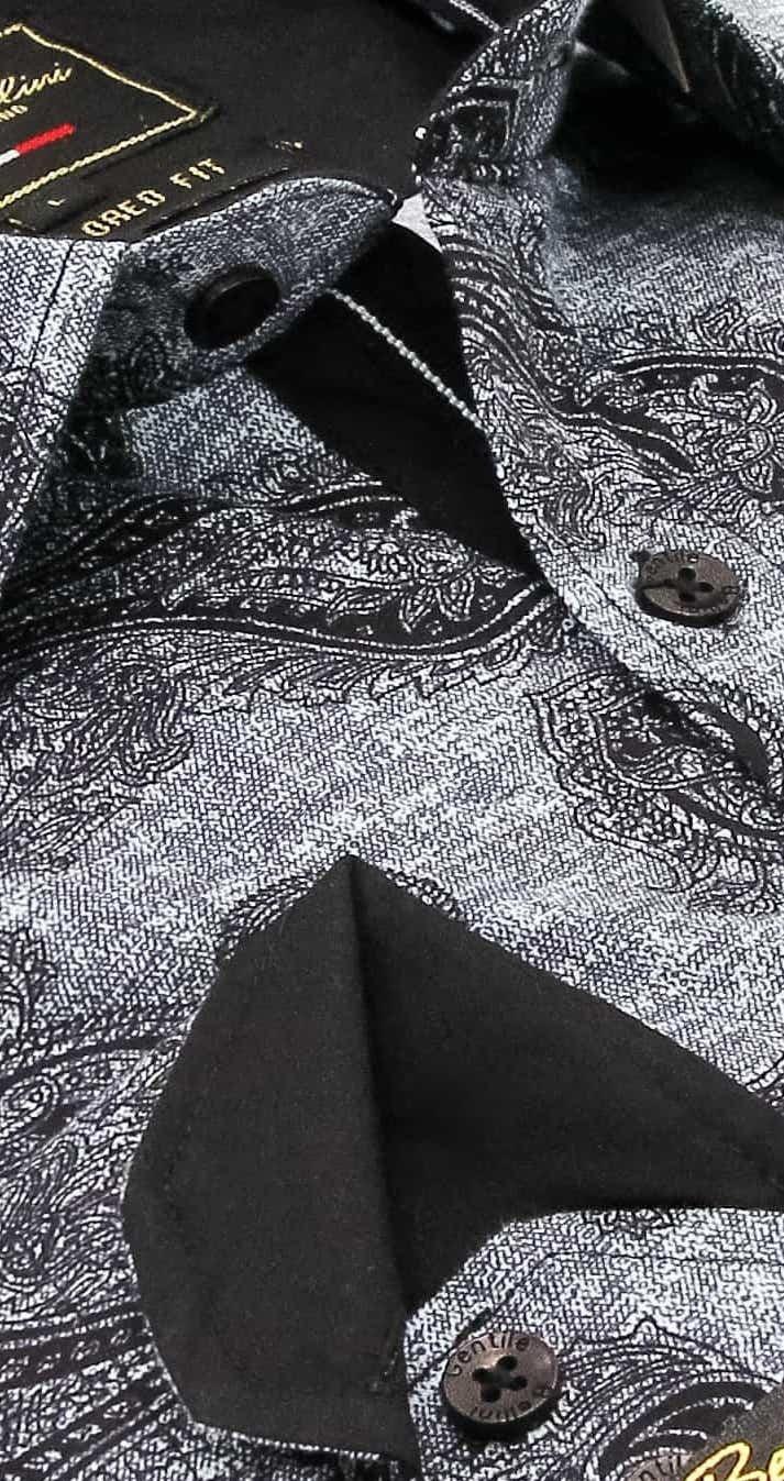 Heren Overhemd - Jacquard Paisley - Zwart-2