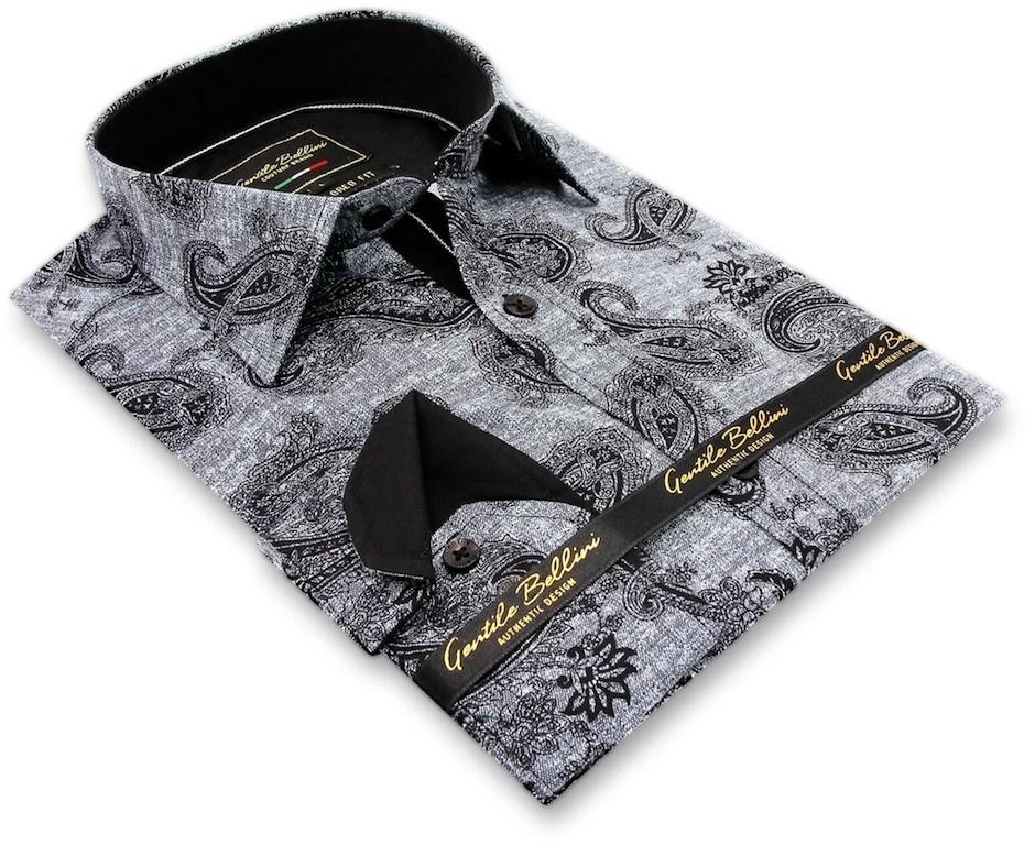Heren Overhemd - Jacquard Paisley - Zwart-3