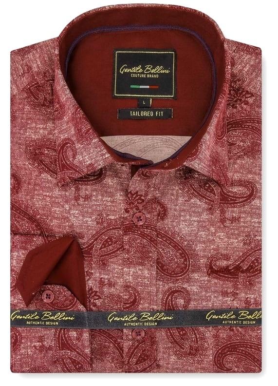 Heren Overhemd - Jacquard Paisley - Rood-1