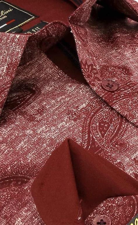 Heren Overhemd - Jacquard Paisley - Rood-2