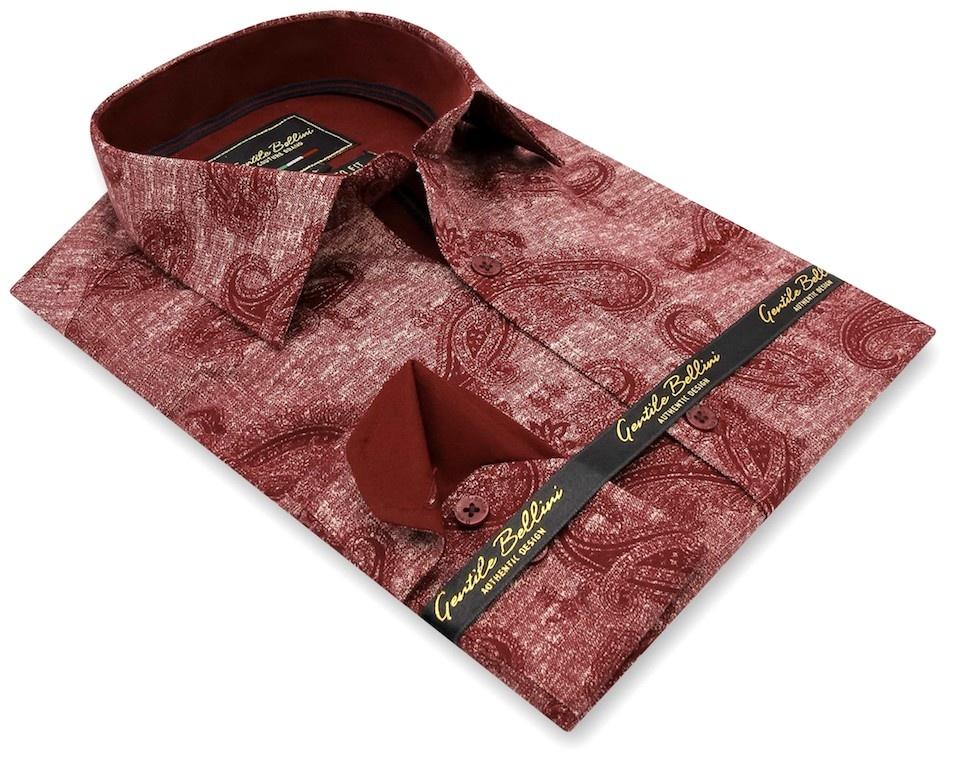 Heren Overhemd - Jacquard Paisley - Rood-3