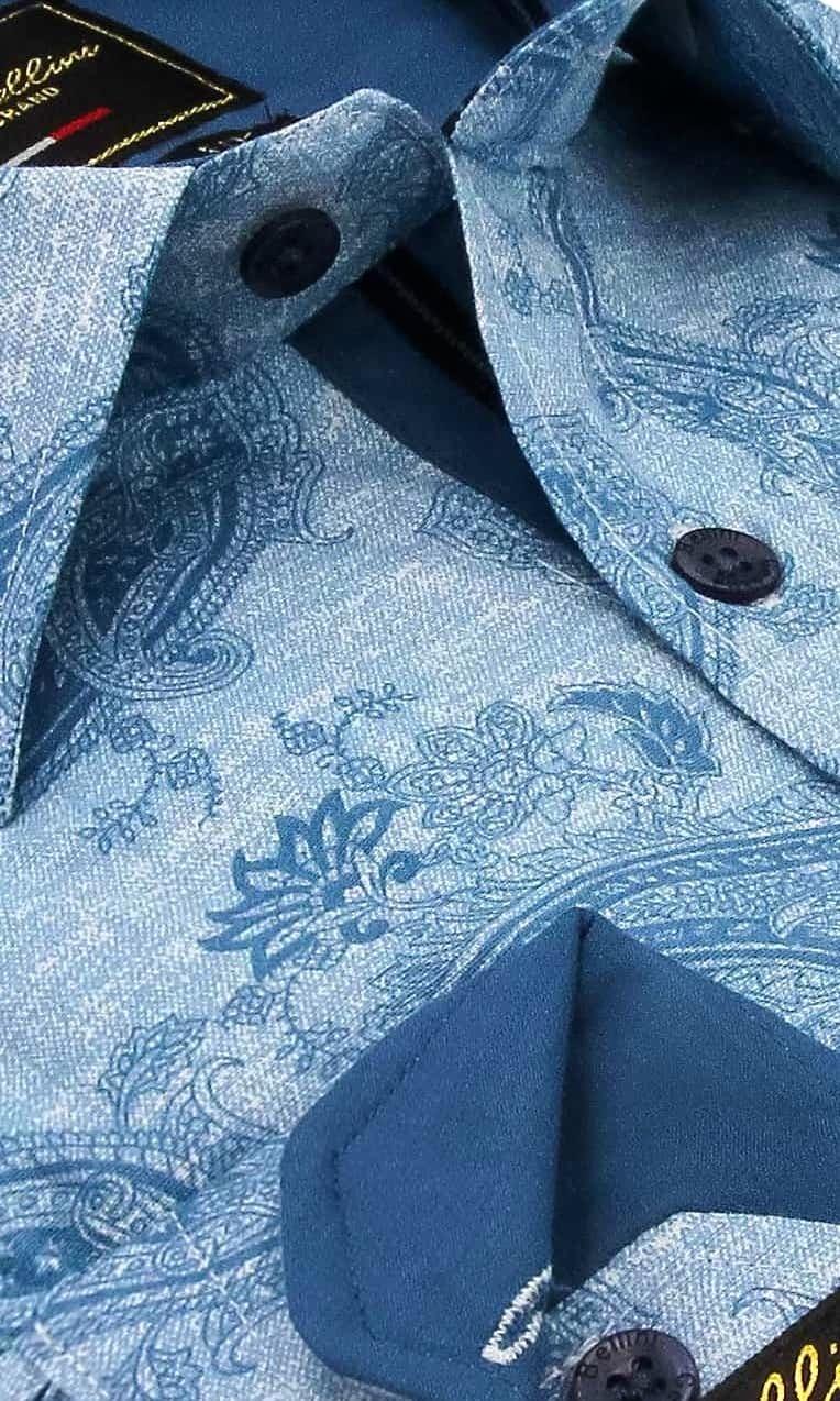 Heren Overhemd - Jacquard Paisley - Blauw-2