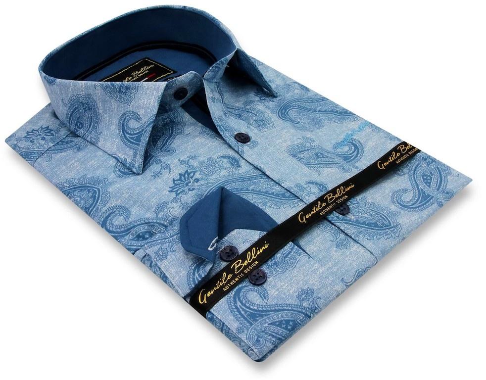 Heren Overhemd - Jacquard Paisley - Blauw-3
